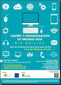 Cartel curso Diseño de páginas web edición 14