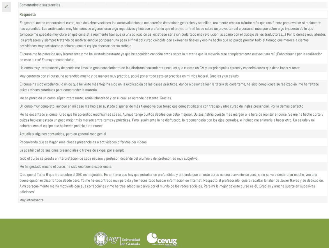 Comentarios Encuestas Curso Community Manager