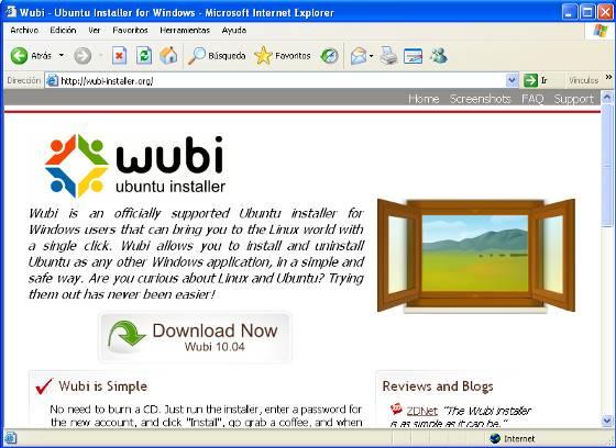 Pagina de Wubi