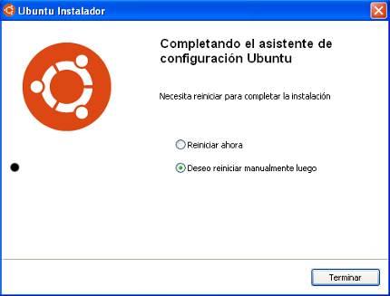 Completado el asistente de configuración de Ubuntu