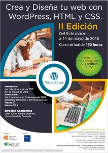 Cartel curso WordPRess, HTML, CSS ed 2ª