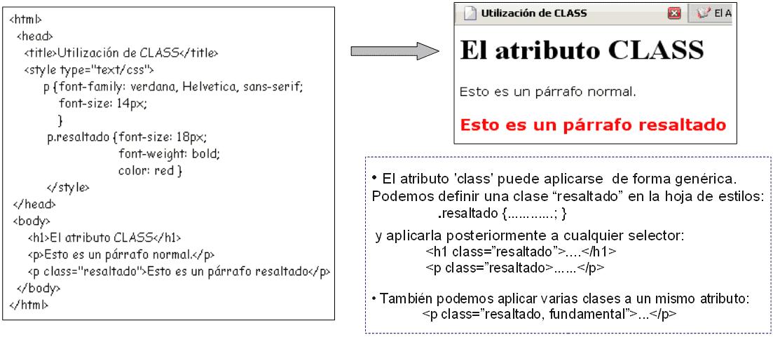 Atributo class con CSS