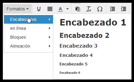 Editor TinyMCE: botón formato