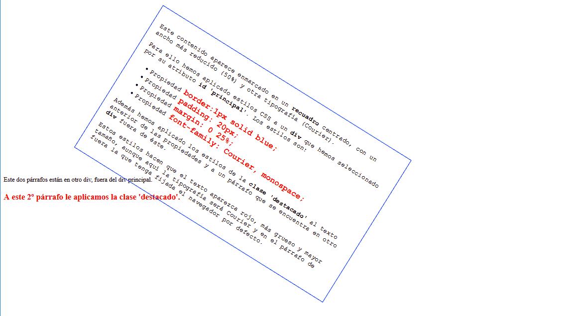 Ejemplo con propiedad CSS3 rotate