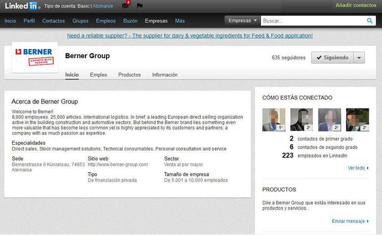 Página Empresa en Linkedin: ejemplo