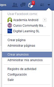Opciones Anuncios en Facebook