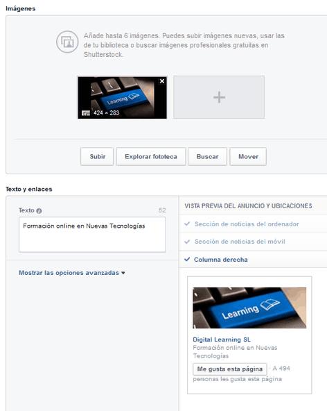 Configurando anuncio en Facebook