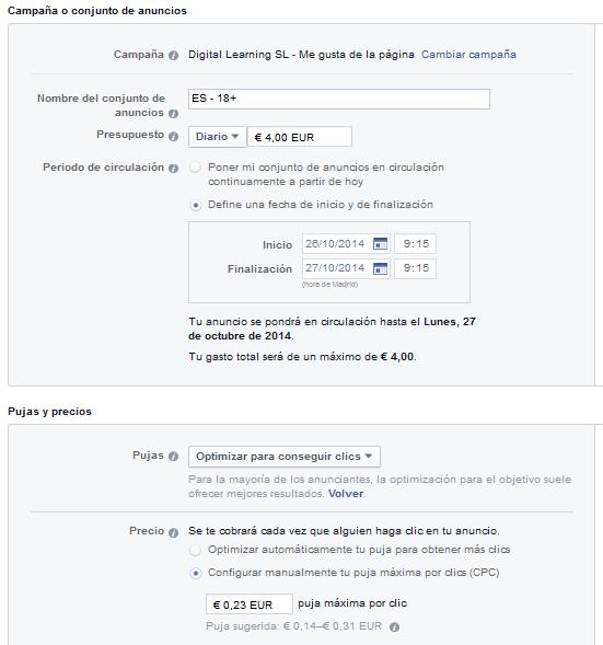Configuración presupuesto campaña anuncios FB