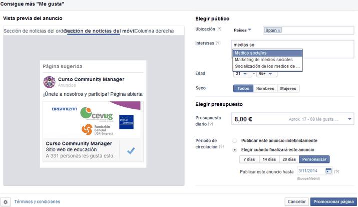 promoción de publicación en FB