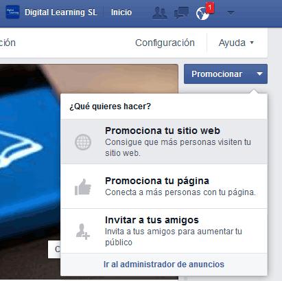 Opciones para promoción de página en FB