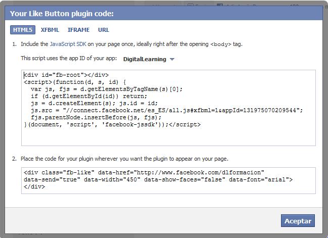 HTML para botón 'me gusta' de FB
