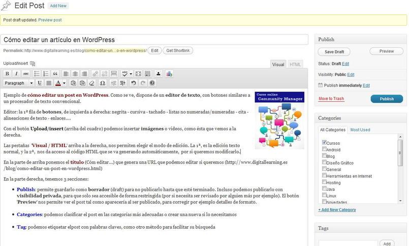 Crear un artículo en un Blog WordPress