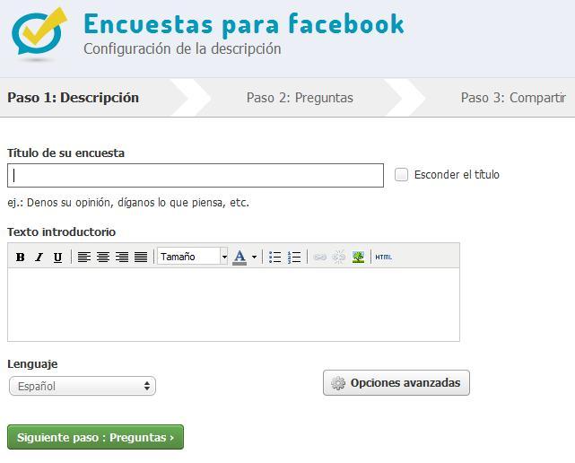 Aplicación encuestas para Facebook