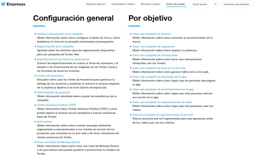 Ayuda configuración campañas publicidad en Twitter