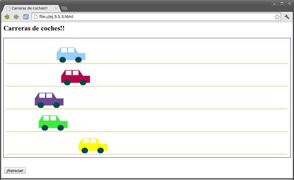 ejemplo jQuery carrera de coches
